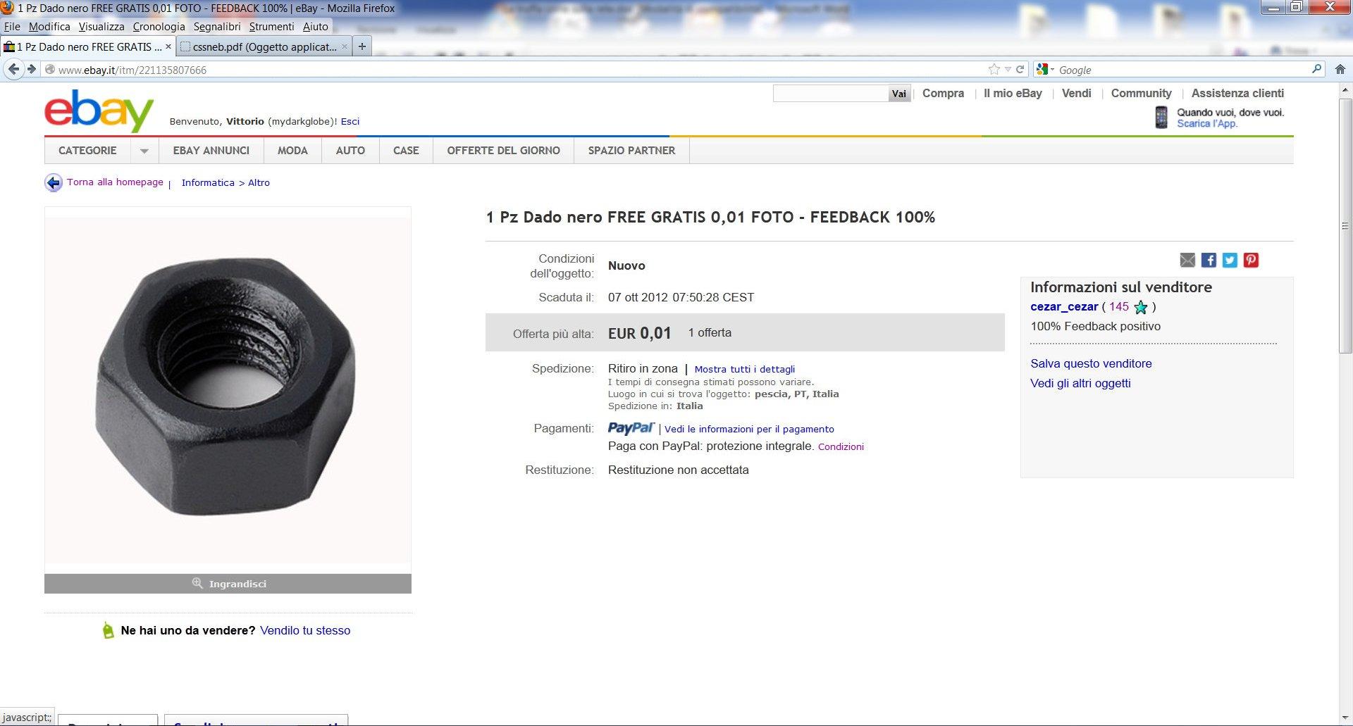 Annuncio ebay per scambio di feedback