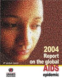 La copertina del rapporto 2004 sull'Aids realizzato dal programma delle Nazioni Unite UNAIDS