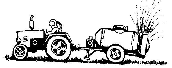 Trattore ed atomizzatore che sparge pesticidi. Disegno: Vittorio Belli.