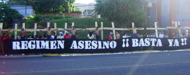 Membri del Copinh durante la manifestazione di protesta (Foto COPINH)