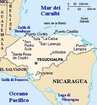 Cartina geografica dell'Honduras