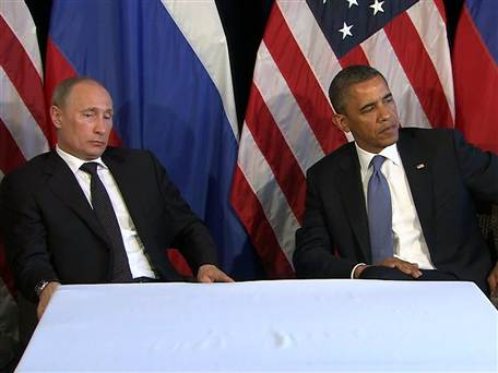 Vladimir Putin insieme a Barack Obama