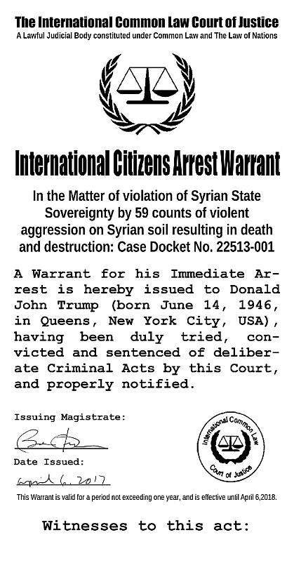 Arrest Warrant for Donald Trump.