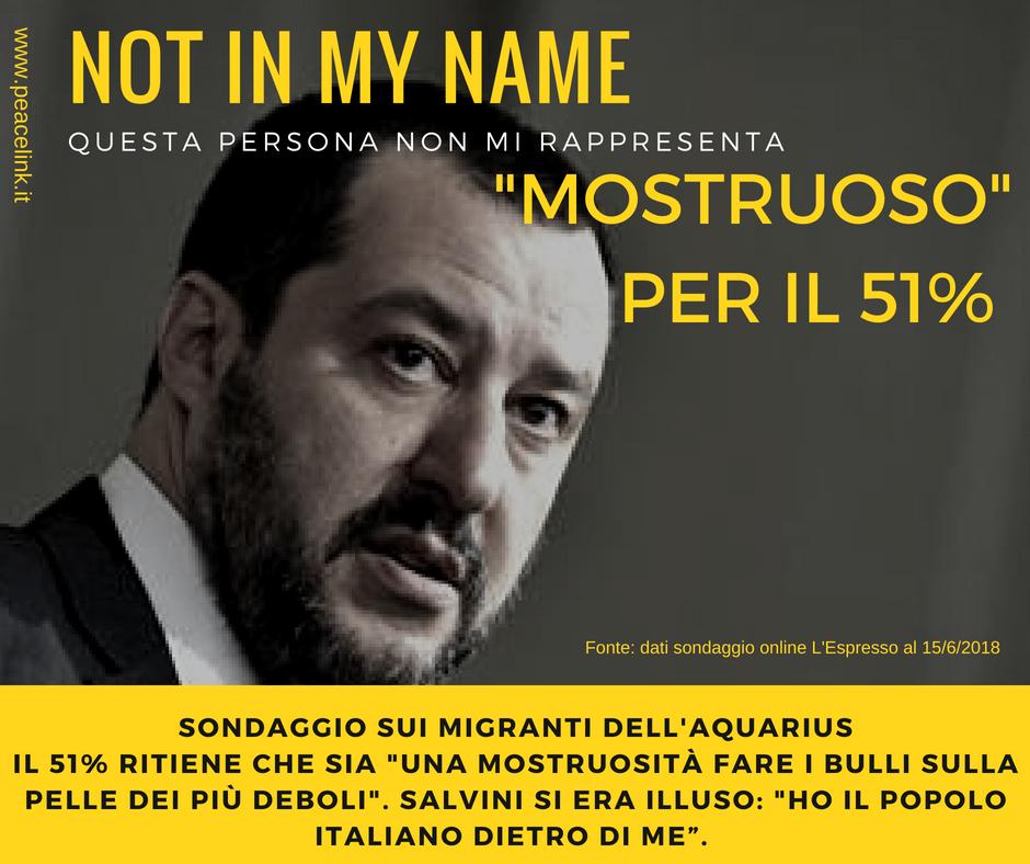 """Il 51% considera """"mostruoso"""" il comportamento di Salvini sul caso Aquarius"""