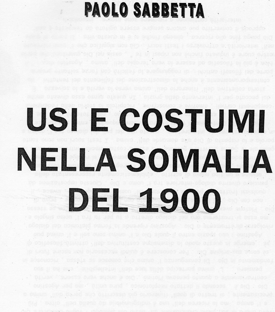 """Frontespizio memoriale """"Usi e costumi della Somalia del'900"""